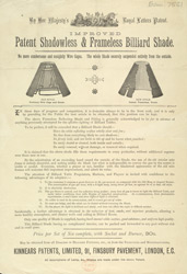 Advert For Kinnears' Shadowless & Frameless Billiard Table Light Shade